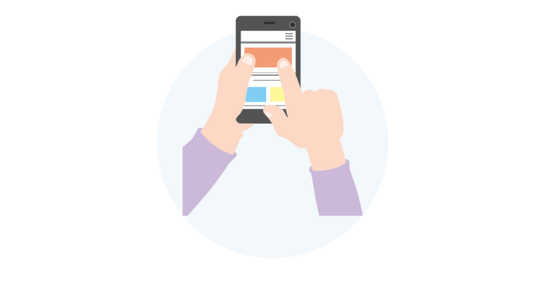 Animated graphic of person using mobile phone